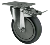 Light medium duty grey rubber castors plate fixing