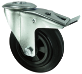 Medium duty rubber tyre castors single hole fixing